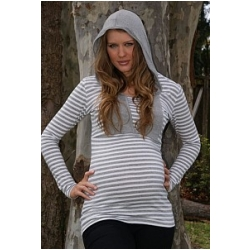 Platinum Striped Maternity & Nursing Hoodie